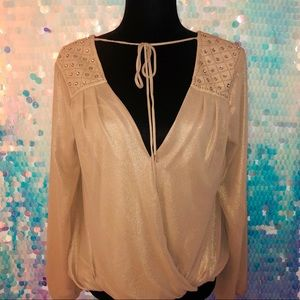 Champagne Tie-Front Jeweled Top 👚